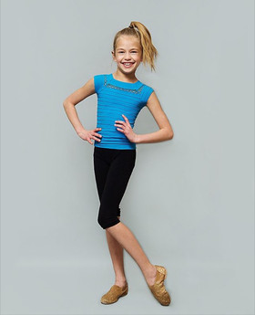 Girls Dance Short Sleeve Top- Turquoise