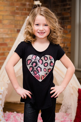 Girls Black Short Sleeved Sequin Heart Top- Pink/Silver CLEARANCE