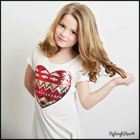 Girls Ivory Short Sleeved Sequin Heart Top- Red/Gold CLEARANCE