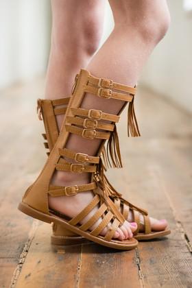 Girls Leather Gladiator Fringe Sandal- Tan CLEARANCE