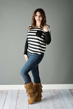Mommy Relaxing In Stripes- Black