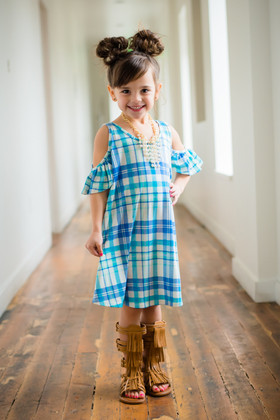 Girls Open Shoulder Butterfly Sleeve Tunic Dress- Mint Plaid CLEARANCE