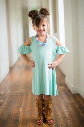 Girls Open Shoulder Butterfly Sleeve Tunic Dress- Pale Mint