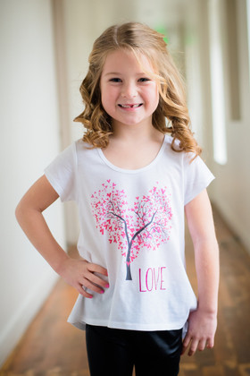 Toddlers Heart Tree Love Shirt- White CLEARANCE