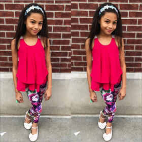 Girls Crochet Back Ruffle Top and Floral Legging 3 Piece Set- Fuchsia CLEARANCE