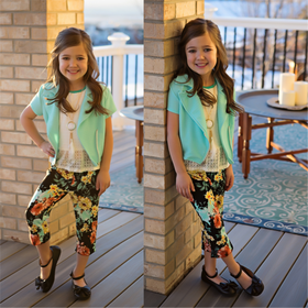 Girls Cap Sleeve Jacket & Spring Capri 4 Piece Set- Mint CLEARANCE