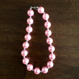 Girls Pretty in Pink Bubble Necklace
