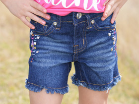 Girls Aztec Stitch Denim Shorts