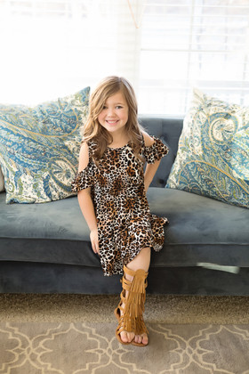 Girls Open Shoulder Butterfly Sleeve Tunic Dress- Animal Print