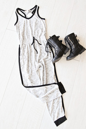 Girls Spring Into Summer Jumpsuit- Grey