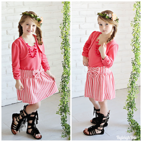 Girls Houndstooth 4 Piece Set- Coral CLEARANCE