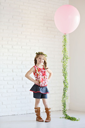 Girls Floral Chiffon Top & Ruffle Short 3 Piece Set- Coral