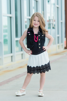 Girls Lace Contrast Skirt Black/White CLEARANCE