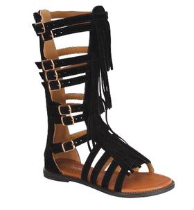 Girls Suede Gladiator Fringe Sandal- Black CLEARANCE