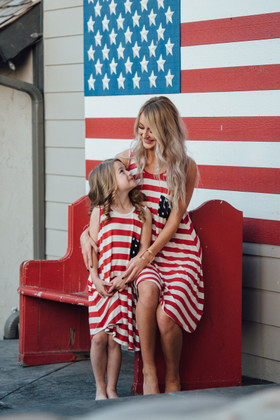 Mommy 4th of July Striped Tunic Dress w/ Polka Dotted Back Fringe