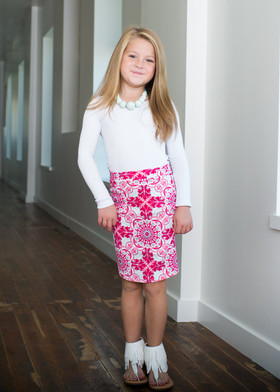 Girls Fleur-De-Lis Pencil Skirt-Pink/Aqua