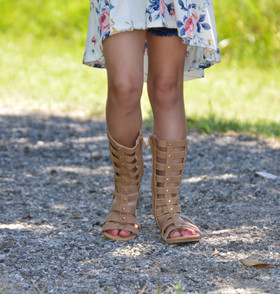 Girls Double Studded Gladiator Sandal- Tan CLEARANCE