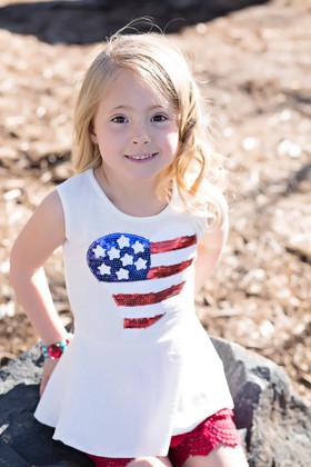 Girls Heart America Peplum Top- White CLEARANCE