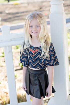 Girls Chevron Bell Sleeve Top & Black Pleather Skirt 3 Piece Set CLEARANCE