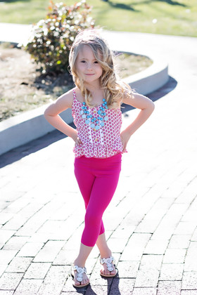 Girls Ruffle Flower Cami & Capri Legging Set- Fuchsia CLEARANCE