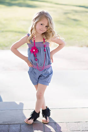 Girls Denim Short Romper w/ Pink Necklace CLEARANCE