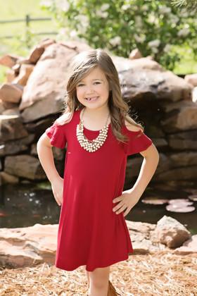 Girls Open Shoulder Butterfly Sleeve Tunic Dress- Tango Red