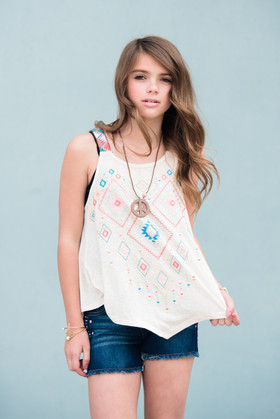 Girls Aztec Strap Tank w/ Peace Necklace- Tan CLEARANCE