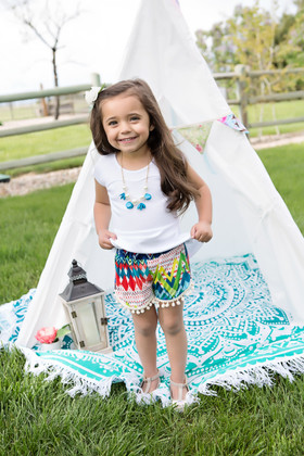 Girls Printed Pom Pom Short- Blue