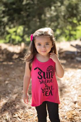 Girls Sunshine & Sweet Tea Tank- Coral CLEARANCE