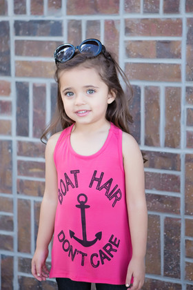Girls Boat Hair Don't Care Tank- Coral