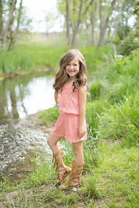 Girls Button Front & Crochet Back Romper w/ Necklace- Coral/White Print