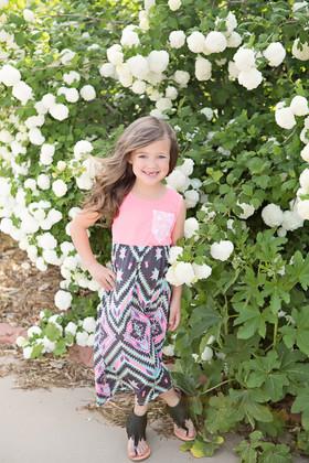 Girls Tribal Maxi Dress w/ Lace Pocket- Neon Pink