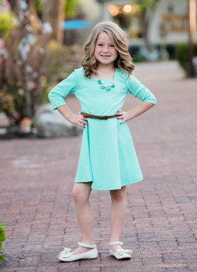 Girls Summer Dress In Mint with Brown Belt CLEARANCE