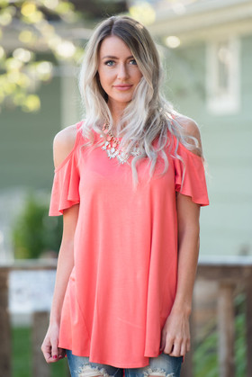 Mommy Open Shoulder Butterfly Sleeve Tunic Dress- Coral