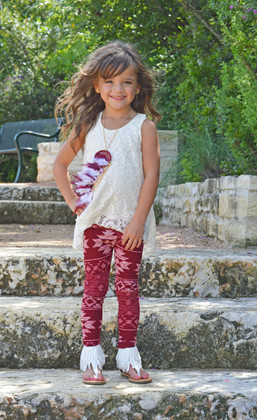 Girls Aztec 3 Piece Set Burgundy