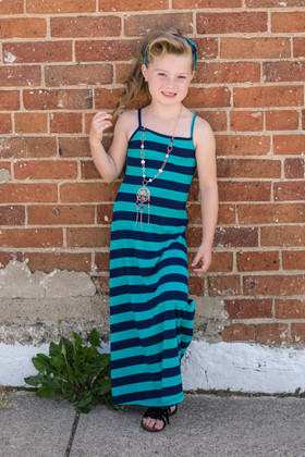 Girls Striped 3 Piece Maxi Navy CLEARANCE