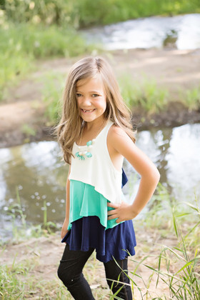 Girls Triple Layered Tank With Bow Back Navy