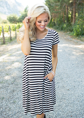 Mommy Flowy Dress With Side Pockets Black Stripe CLEARANCE