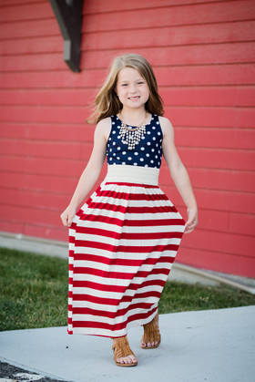 Girls Red, White, and Stars Maxi Dress