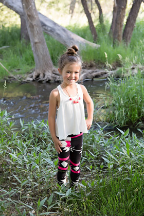 Girls Flowy Tank Top Ivory CLEARANCE