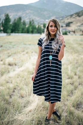 Mommy White Pin Striped Dress-Black