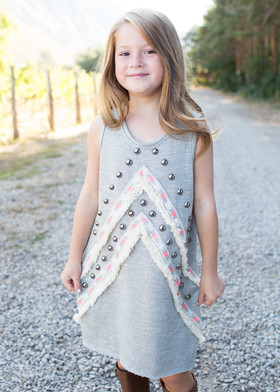 Girls Studded to Perfection Dress Gray