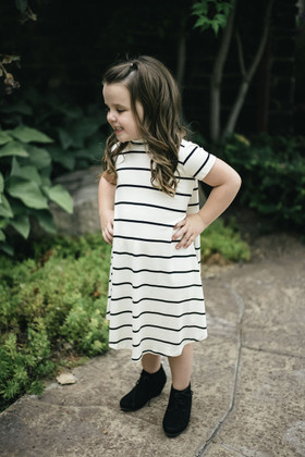 Girls Black Pin Striped Dress- Ivory