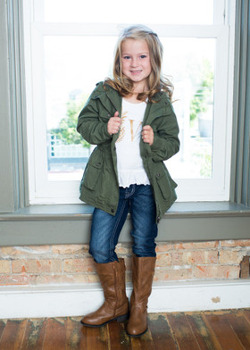 Girls Let It Rain Military Style Jacket Olive