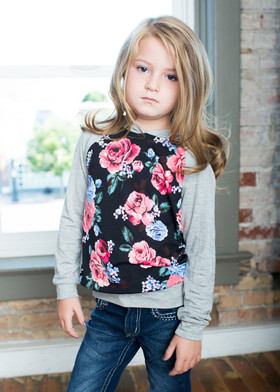Girls Pink & Purple Flower Hoodie Gray