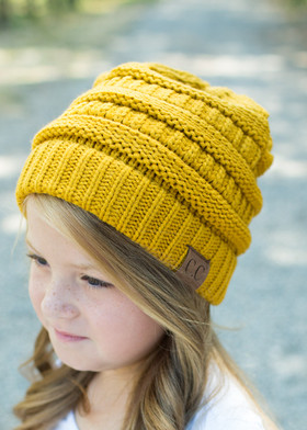 Girls Slouchy Knit Beanie Mustard