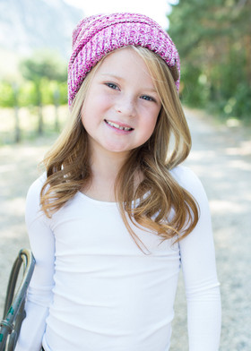 Girls Slouchy Knit Beanie Pink
