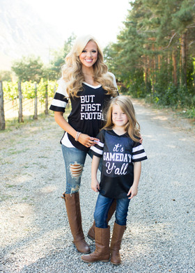 Mommy But First Football Baseball Top Black CLEARANCE