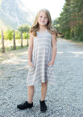 Girls Cascade Striped Dress w/ Pockets- Khaki