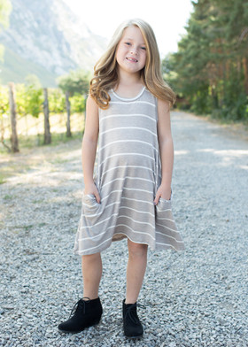 Girls Cascade Striped Dress w/ Pockets- Khaki